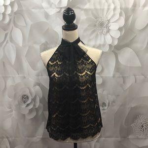 Moda International Black Lace Sleeveless Blouse S